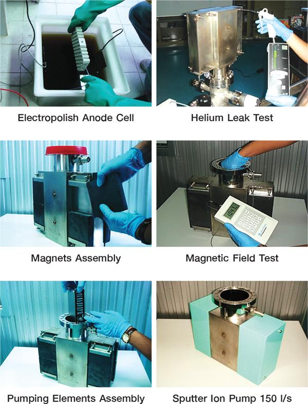แสดงการทำความสะอาด ประกอบ และติดตั้งระบบ Sputter Ion Pump