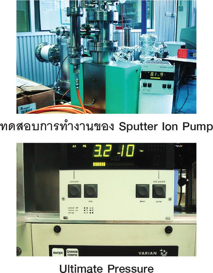 แสดงการทดสอบประสิทธิภาพการทำงานของระบบ Sputter Ion Pump