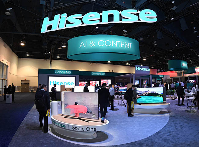 Inside the Hisense CES 2019 Booth on Tuesday, Jan. 8 2019 in Las Vegas. (Jeff Bottari/AP Images for Hisense)