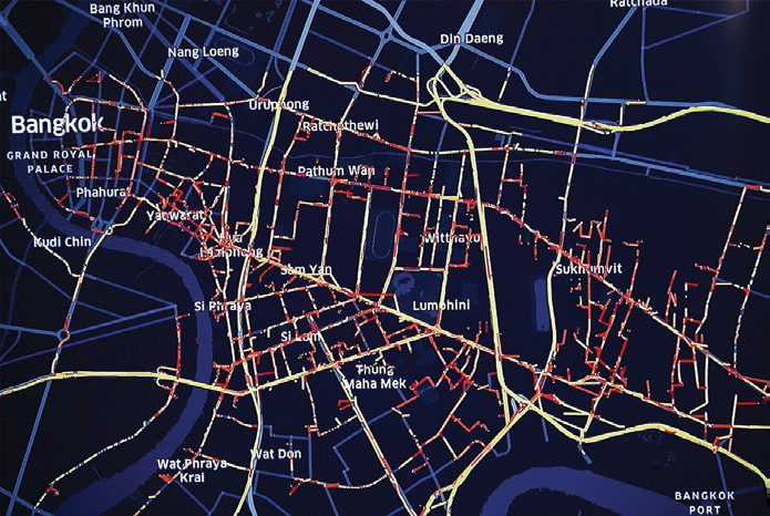 ตัวอย่างข้อมูลสภาพการจราจรบนถนนพระราม 4 และพื้นที่ใกล้เคียง