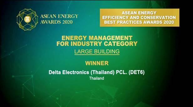เดลต้าคว้ารางวัลพลังงานอาเซียน ASEAN Energy Awards 2020 ประเภทการจัดการพลังงานอุตสาหกรรมขนาดใหญ่