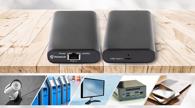 ไมโครชิปเปิดตัวอะแดปเตอร์จ่ายกระแสไฟฟ้าและข้อมูล IEEE® 802.3bt Power over Ethernet to USB Type-C® ตัวแรกสู่ท้องตลาด